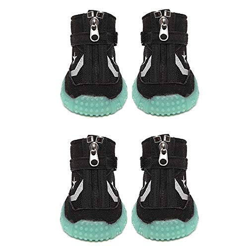 EVIICC Dog Shoes Fluorescence Breathable Hiking Boots for Small Medium Large Dogs Anti Slip Sole 4pcs