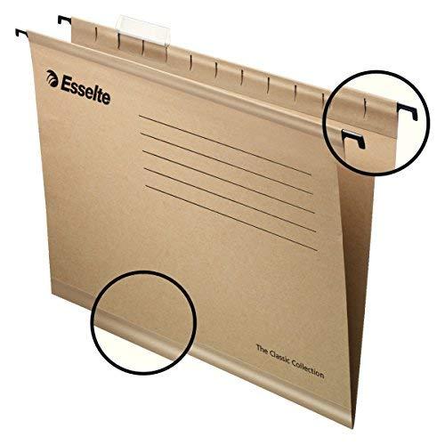 Esselte 93290 Classic - Carpeta colgante reforzada, Tamaño A4, cartón kraft reciclado, visor de plástico transparente, Natural, 34.5 x 24.0 x 0 cm, Caja de 50