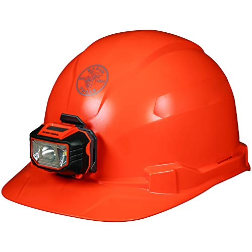 Klein Tools - 60900 Hard Hat, Non-vented, Orange Cap Style with Headlamp