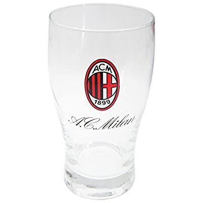 AC Milan Official Football Crest Wordmark Pint Glass (One Size) (Clear)