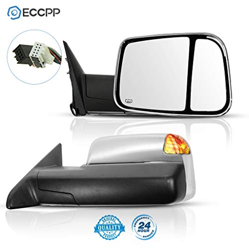 ECCPP Side Mirror Replacement for 2010 DODGE RAM 1500 2500 3500 PICKUP 2011-2015 DODGE RAM 1500 2500 3500 Chrome Power Heated Puddle Signal Light Tow Mirrors