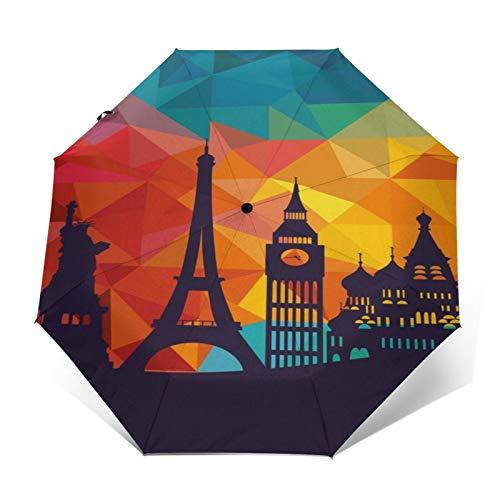 TISAGUER Paraguas automático de Apertura/Cierre,Cuadro de Arte 3D,Torre Eiffel,Estatua de la Libertad,Big Ben,Paraguas pequeño Plegable a Prueba de Viento