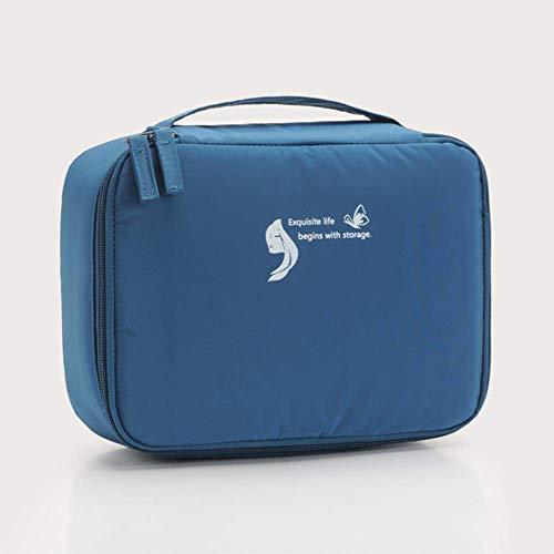 Sac à cosmétiques grande capacité compartiment sac multifonctionnel carré Sac de rangement pour le voyage Sac de toilette portatif Sac de toilette imperméable à l'eau de toilette,Bleu