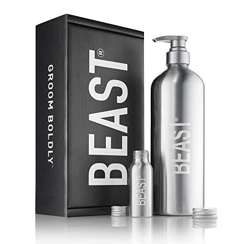 Beast Bottle Reusable Shower Bottle Set - Refillable with Shampoo Conditioner Body Wash Liquid Soap...