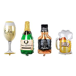 Huture Globo Botella de Vino de Globos de Whisky Globos de Papel de Champán Globo de Jarra de Cerveza Globo de Papel de Aluminio Inflado Set de Globos de Helio de 4PCS para Fiesta Cumpleaño, XXL 100cm
