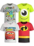 Disney Pixar Boys 4 Pack T-Shirts: Toy Story, Incredibles, Cars & Monsters Inc. 5T