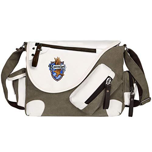 Teenagers Student Messenger Bag Cartoon Print School Bag Hogwarts School Book Bag Unisex Green-R