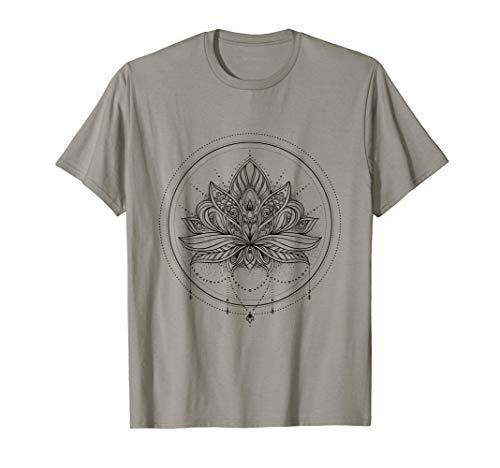 Flor de loto con mandala circular y colgante Camiseta