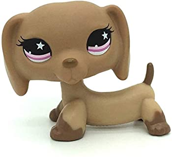 LPS-L Rare FiguresCuetrade Rare Mini Pet Toys #932 Dachshund Dog Puppy Tan with Pink Star Eyes Animal Figure GiftCollie Great Dane Shorthair Dachshund Cocker Spaniel