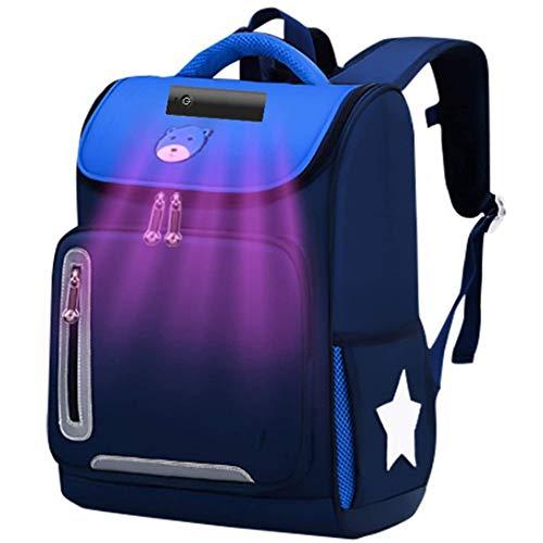 XJZHANG Mochila de esterilización de Gran Capacidad Mochila Escolar, Mochila Recargable USB con desinfección Ultravioleta LED para niños, niñas y Adolescentes