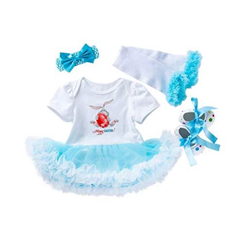 lulongyansf Bebés del Huevo de Pascua Romper Tutu Dress Diadema Calentadores de la Pierna Zapatos de los Equipos del algodón fijaron el Equipo Juego de Ropa 59cm 4Pcsclothing