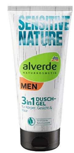 Duschgel Pflegedusche für Männer - Naturkosmetik - Sensitive Nature 3 in 1 (Für Körper, Gesicht und Haar) - Sanft zu empfindlicher und irritierter Haut -200 ml