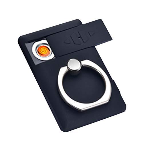 FBGood - Accendino elettrico ricaricabile USB, per candele, sigarette, con porta USB, ricarica più leggera, compatta, con funzione di supporto per telefono, accensione elettronica, colore: Nero