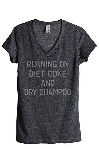 Running On Diet Coke and Dry Shampoo Damen-T-Shirt mit V-Ausschnitt - Grau - Groß