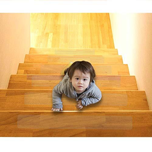 Any Beauty 15 Stück(10*60cm) Anti Rutsch Treppe Anti-Rutsch Stuffen,Antirutsch Treppen Rutsche Selbstklebend,Holz Stufenmatten Transparent Streifen,Treppenstufen Rutschschutz Treppenschutz,Innen