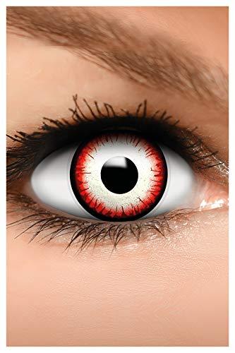 FUNZERA Farbige Halloween Kontaktlinsen UNDEAD ZOMBIE, weich, 2 Stück (1 Paar), Ohne Sehstärke