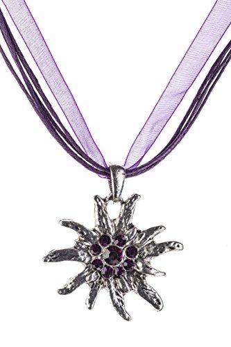 Trachtenkette Edelweiss Trachtenschmuck - Trachten Kette mit feinem Strass in div. Farben - Halskette für Dirndl und Lederhosen (Lila)