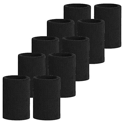Meta-U, polsini in cotone morbido, colore nero, 5 paia