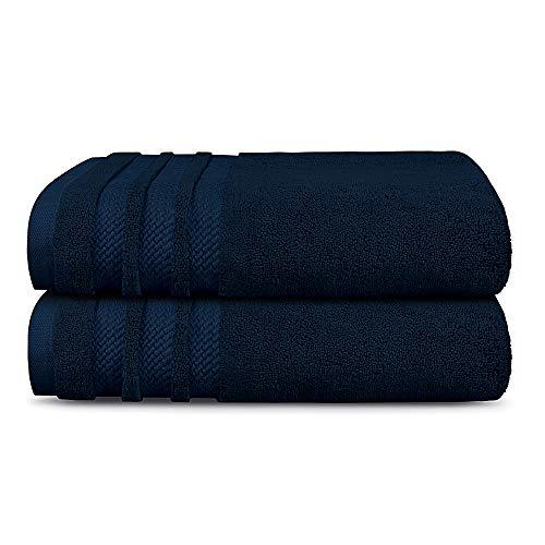 TRIDENT Juego Toallas de baño - Luxury Hotel Collection - Toallas Grandes, 100% algodón, 2 Piezas Juego Toallas de baño, Ultra Suave, Lujoso, Extra Absorbente (Armada)