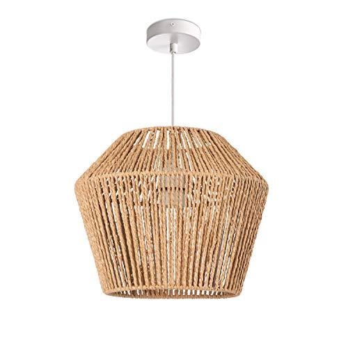 Paco Home Lámpara LED De Techo E27, Diseño Bohemio Ratán Mimbre Salón Comedor Pasillo, Pantalla de lámpara:Beige (Ø33 cm), Tipo de lámpara:Lámpara Colgante Blanco