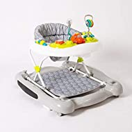 Use as a walker or easily convert to a static rocker. The choice is yours! Adjustable frame to three different heights allowing the walker to grow with baby Patterned deep padded seat with back support for comfort and support with matching foot mat R...
