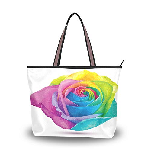 DAOXIANG Valentine's Day Women Tote Bags Top Handle Satchel Handbags,Watercolor Rose Flower Large-Capacity Shoulder Bag Shopping Bags for School Work Travel (M)