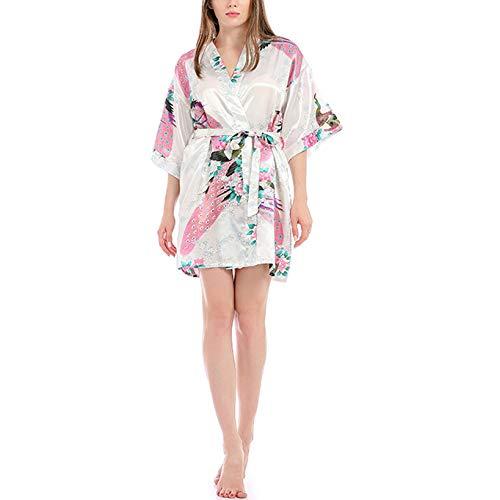 Mujeres Kimono Batas Algodón Ligero Bata Corta Tejido Albornoz Ropa de Dormir Suave con Cuello en V para bañoPijama Corto con Estampado de Pavo Real Albornoz Sexy