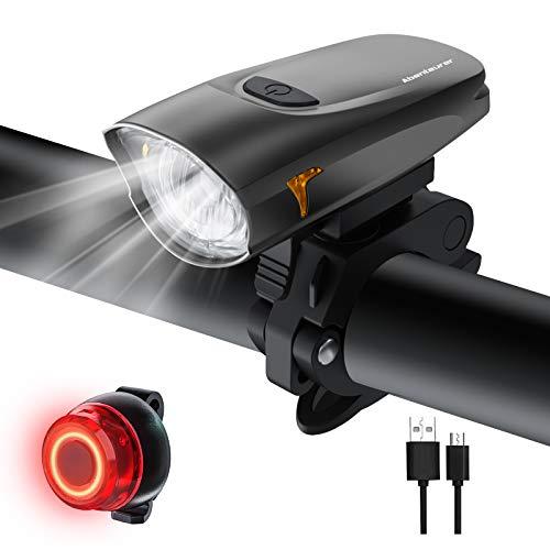 Abenteurer LED Fahrradlicht Set,Fahrradbeleuchtung USB Aufladbar Fahrradlampe Set,Aufladbar Fahrradlichter Rücklicht Wiederaufladbar mit 2 Licht-Modi Fahrradlampensets