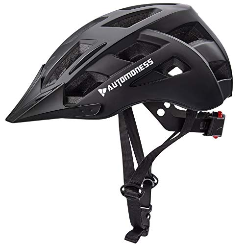Automoness Bike Helmet CPSC & CE Certified with Rear LED Lights, Bicycle Helmet for Adult Men Women Road Cycling & Mountain Biking with Detachable Visor-Black