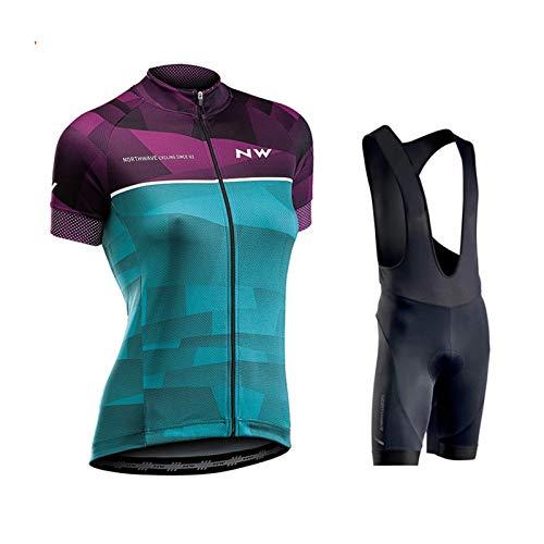 OJKYK Conjunto Ciclismo Mujer Traje Bicicleta Team Maillot Btt Corta Manga Corta...