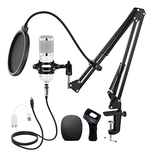 Huryfox Podcast Condenser Microphone Kit Professional Cardioid Studio Mic Bundle with Adjustable Stand, Shock Mount and Pop Filter for Recording/Gaming/Streaming
