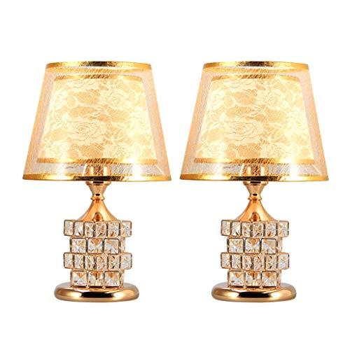 Lámpara de Mesita de Noche Tabla Cristal de lámpara de mesa moderna Lámpara de 16 pulgadas de cristal de cristal de la lámpara postales y de Doble Pantalla interruptor doble Juego de 2 Lámpara de Mesa