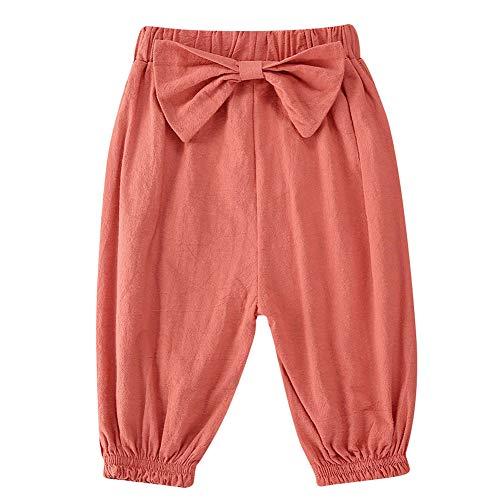 ベビーガールズコットンリネンアンチモスキートロングハーレムパンツブルマちょう結びランタンパンツ (淡紅色, 3-4歳)