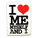 Parches - I Love Me Myself and I - blanco - 6,8x7,6cm - termoadhesivos bordados aplique para ropa