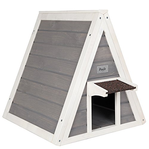 Petsfit Triangle Wooden Cat House with Back Escape Door, Front Door with Eave to Prevent Rain for...