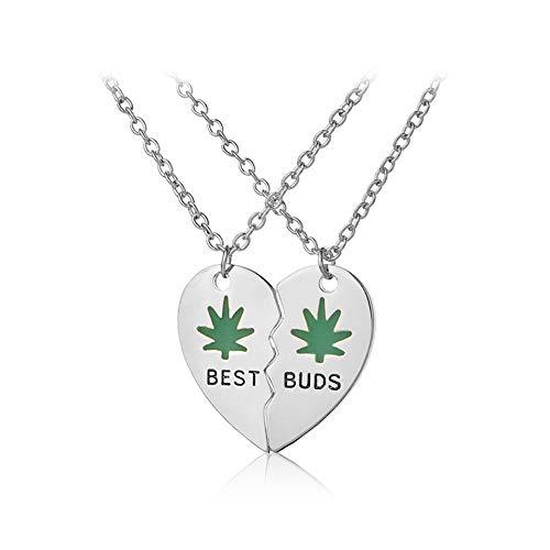 Mingjun 2 Piece Set Peach Heart Pendant Necklace Best/Buds...
