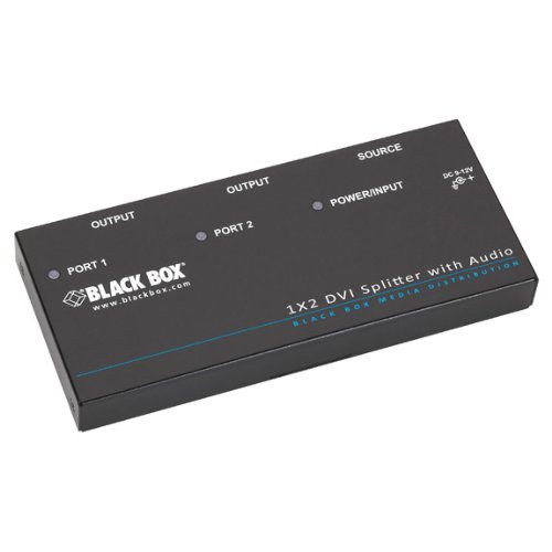 Black Box AVSP-DVI1X2 divisor de video - Splitter de vídeo (DVI, 1600 x 1200 (UXGA), 1920 x 1080 (HD 1080), 1920 x 1200 (WUXGA), 1080p, Negro, 100-240V, 9V)