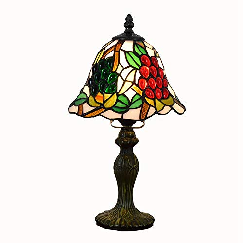 Lámpara Tiffany 8 pulgadas lámpara de escritorio for la barra del dormitorio del vitral de Tiffany uva roja de la personalidad creativa de bolas sbedside pequeña lámpara de tabla Escritorio antiguo de