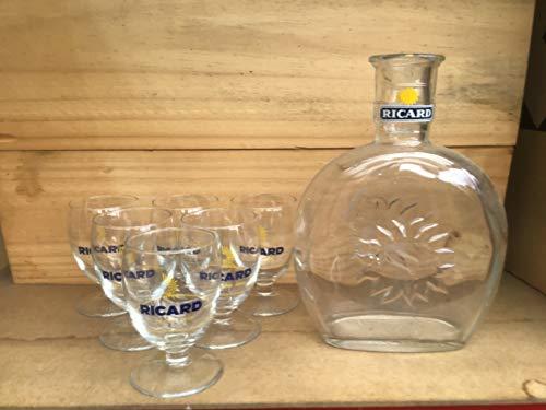 Ricard Set mit 6 Trinkgläsern, 17 cl + Karaffe, 1 l