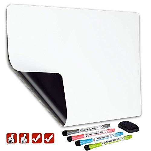 Magnetische Whiteboard-Platte für Kühlschrank – mit schmutzabweisender Technologie – inklusive 4 Markern und 4 magnetischen Symbolen und einem Radiergummi – Kühlschrank-Whiteboard-Planer 17x11 inch