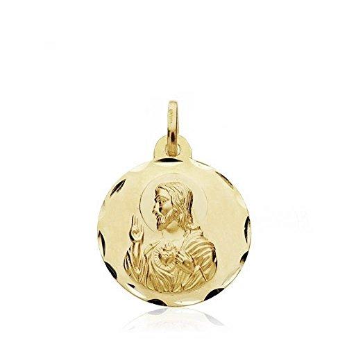 Medalla oro 18k escapulario 18mm. Virgen de la Cabeza de Zújar Corazón de Jesús