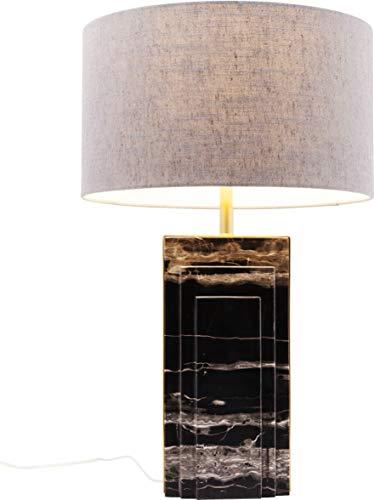 Kare Design Tischleuchte Charleston Marble 69cm, Grau, Marmor Nachttischlampe, Tischlampe schwarz weiß, (H/B/T) 69x40x40cm