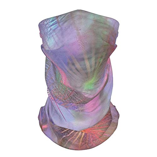 Al aire libre reutilizable seda cara diadema psicodélico naturaleza tema diente de león flor con efectos digitales ilustraciones impresión rosa lavanda y malva cara bufanda