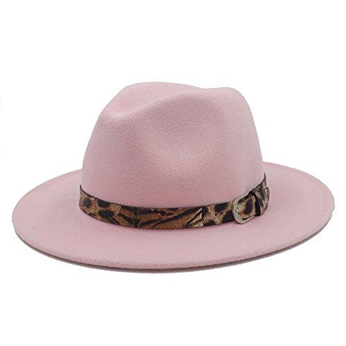JDON-HAT, Vrouwen/Mannen Fedora Wollen Hoed Vrouwen Mannen Wol Fedora Hoed met Luipaard Lederen Elegante Lady Gentleman