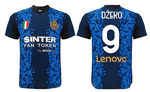 L C Dzeko Inter - Camiseta oficial del Inter 2021 - 2022 para adulto y niño Edin 9, color negro, negro y azul, 10 años