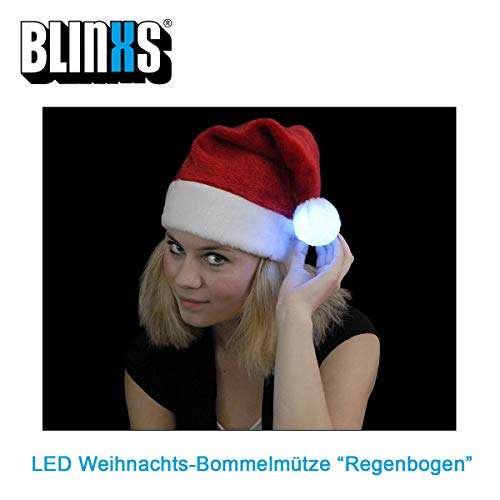 BLINXS LED Weihnachts-Bommelmütze / Nikolausmütze mit bunt leuchtendem Bommel - tolles Gimmick für Weihnachten, Weihnachtsmärkte oder Weihnachtsfeiern - inklusive austauschbaren Batterien