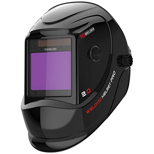 "YESWELDER Large Viewing Screen 3.94""X3.27"" True Color Solar Power Auto Darkening Welding Helmet, 4 Arc Sensor Wide Shade 4~5/9-9/13 for TIG MIG Arc Cut Grinding Welder Mask LYG-M800D"
