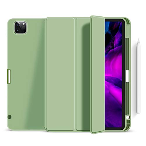 Case for Ipad Pro 11' 2020 with Pencil Holder, Soft Flexible TPU Back Cover, Auto Sleep/Wake, Multiple Viewing Stand for Ipad Pro 11 2020,Green