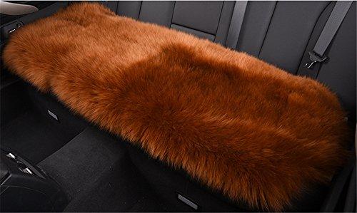 Fouriding Luxueux Peau de Mouton Australienne Antiderapant Voiture Coussin Sieges Housse de Coussin Arriere Super Doux epais Naturel en Laine de Fourrure Chaise Canape Pad Tapis, 45 cm x 135 cm Marron