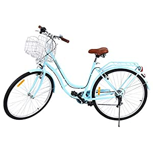 Comfort Bikes MuGuang 28 Inches 7 Speeds City Bike Women's Man's Bike Ladies City Bike Outdoor Sports City Urban Bicycle Shopper Bike (Blue)